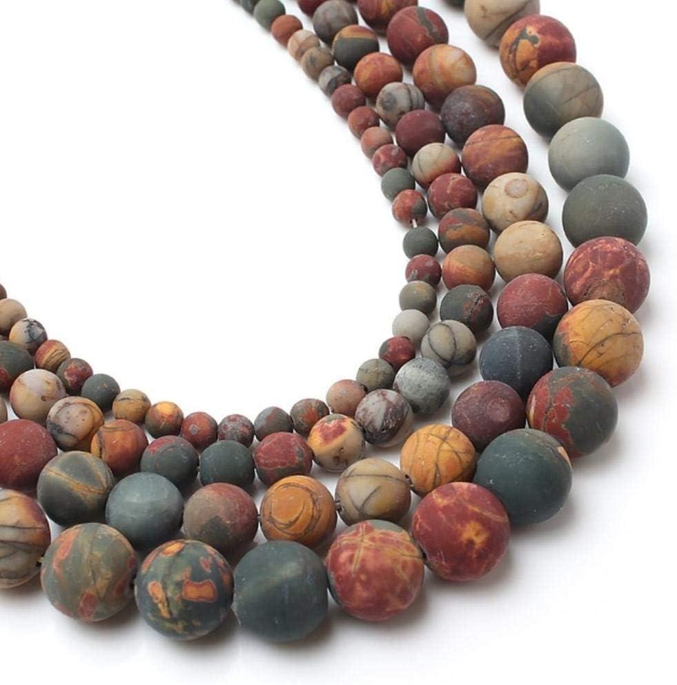Venta al por mayor opaco mate ágatas mate Jada cuentas sueltas redondas para hacer joyas de piedra natural collar de pulsera de bricolaje 4/6/8/10 mm 15 ``, Jaspe Picasso, 8 mm