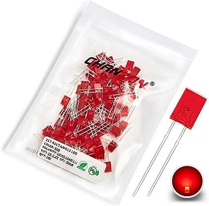 2x5mm lot of 100 pcs red square LED