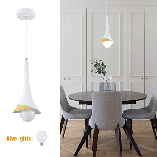 1-Light Small Modern Pendant Lighting Over Island with A Unique Lampshade  Kitchen Light Fixtures with Adjustable Hanging Cord for Foyer, Bedroom, ...