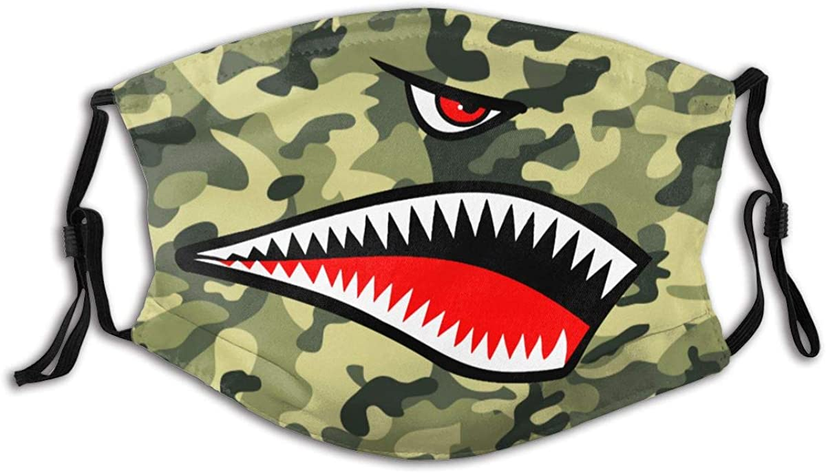 Flying Tigers P-40 Warhawk Shark Mouth Teeth Nose Mask Man's Women's Face Mask with Filter Chip