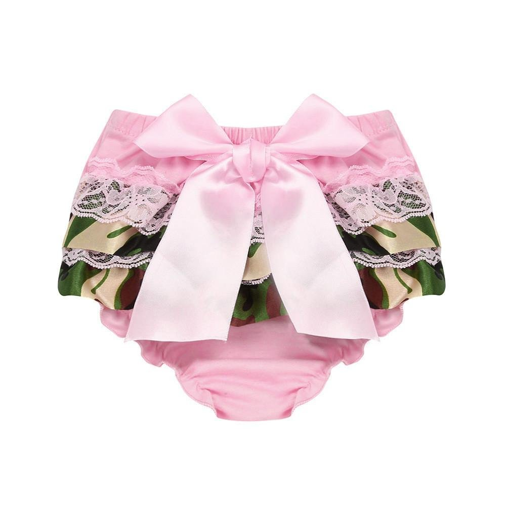 Vincent/&July Baby Girls Summer Pink Lace Bowknot Chiffon Camouflage Panties Briefs Pants Shorts
