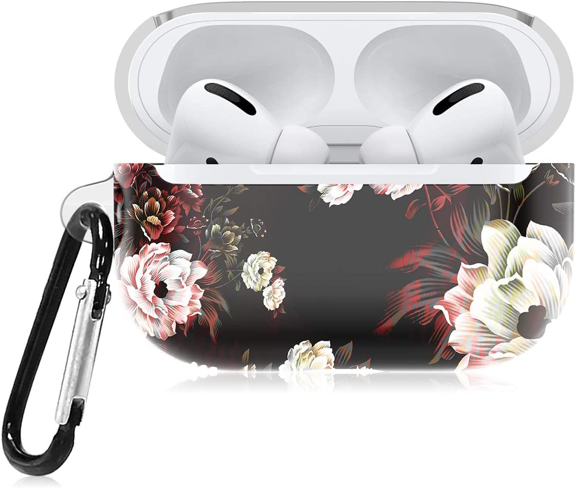 Lontect Compatible with Airpods Pro Case with Keychain Cute Floral Design Flexiable TPU Portable & Shockproof Full Boday Protective Cover Skin for Apple Airpods Pro 2019, Black/White Flower