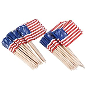 200 Count American Flag Picks Cake Toppers Flag Toothpicks Cocktail Sticks Cupcake Toppers