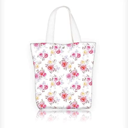 Women s Canvas Tote Handbags Flower Minimal Romantic Pastel Roses Babies  Breath and Leaves Flower White Pink