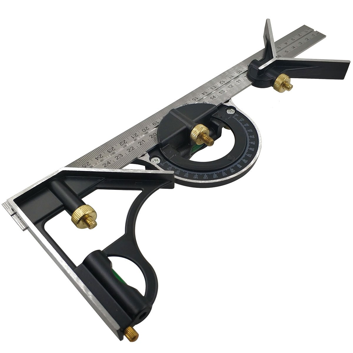 Daycount Combination Square Set 24'' Stainless Steel Ruler with Center Square Protractor Heads
