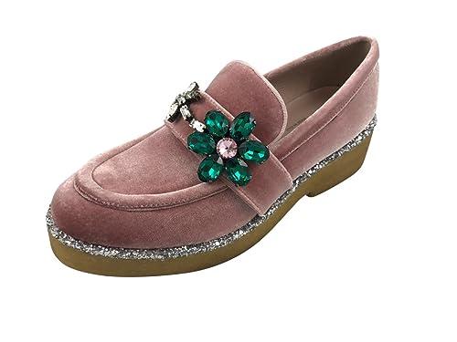 ALBERTO GOZZI Mocasines de Terciopelo Para Mujer, Color, Talla 37.5 EU: Amazon.es: Zapatos y complementos