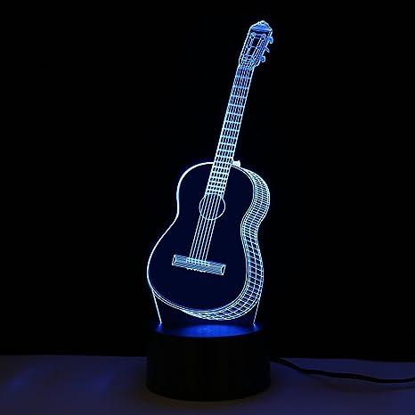 3D LED Luz de Noche Lámpara de Mesa Guitarra Forma Creativa 7 Colores Cambios Cargar por