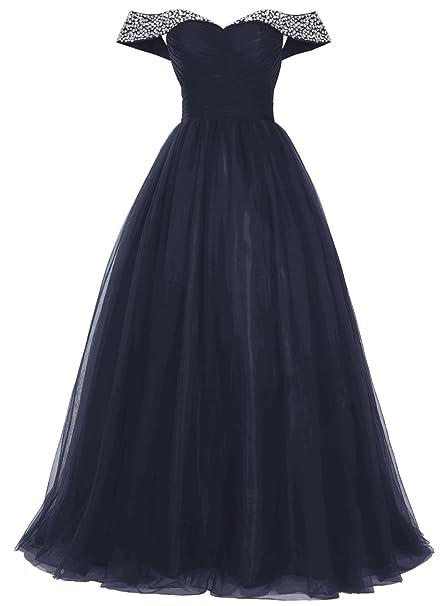 084902e8e Bbonlinedress Mujer Vestido Largo Tul Nochevieja De Fiesta Boda Off  Shoulder Azul Oscuro 48W  Amazon.es  Ropa y accesorios
