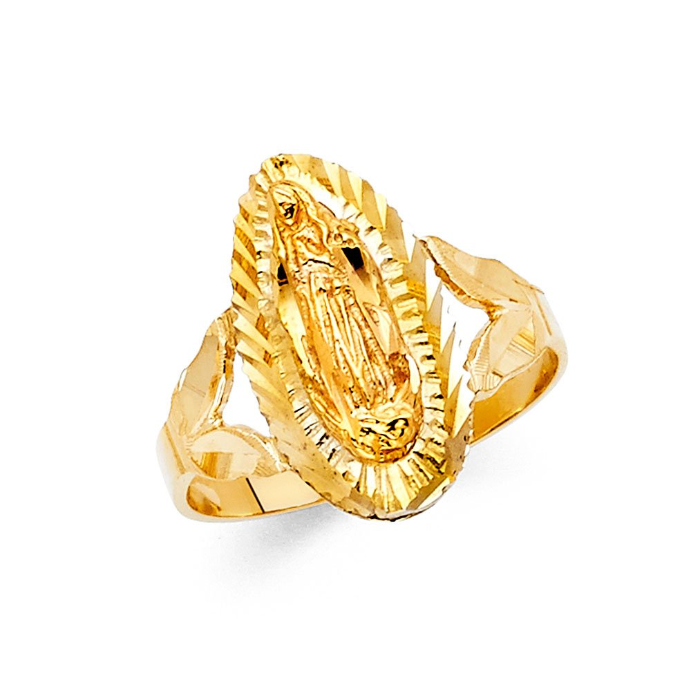 Lady Guadalupe Stamp Ring 14k Yellow Gold Oval Virgin Mary Diamond Cut Band Solid Genuine 18MM, Size 8