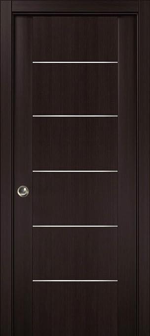 Puerta corredera de bolsillo marrón con tiras, Planum 0030 Wenge, marcos, tiradores, puerta de armario de núcleo sólido: Amazon.es: Bricolaje y herramientas