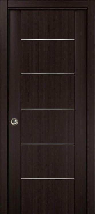 Puerta corredera de bolsillo marrón con tiras, Planum 0030 Wenge ...