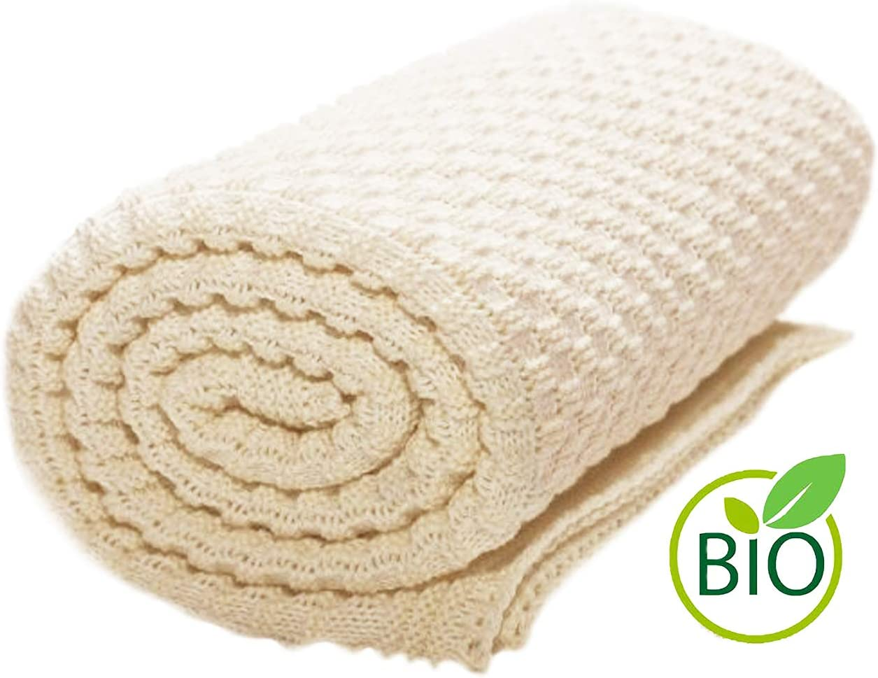 Wallaboo Eden, Manta de punto, 100% algodón orgánico, 90 x 70 cm, Color Crema