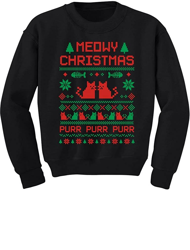 TeeStars Meeowee Christmas Ugly Sweater Design - Cute Xmas Toddler/Kids Sweatshirts 2T Black GhPhrthgf5Plf59to