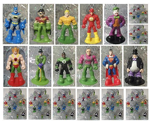 DC Comics Super Hero 12 Piece MINI Holiday Christmas Set Featuirng Superman, Krypto, Batman, Robin, Aquaman, Green Lantern, Flash, Hawkman, Joker, Riddler, Penguin, Lex Luther - Shatterproof Ornaments Range from 2