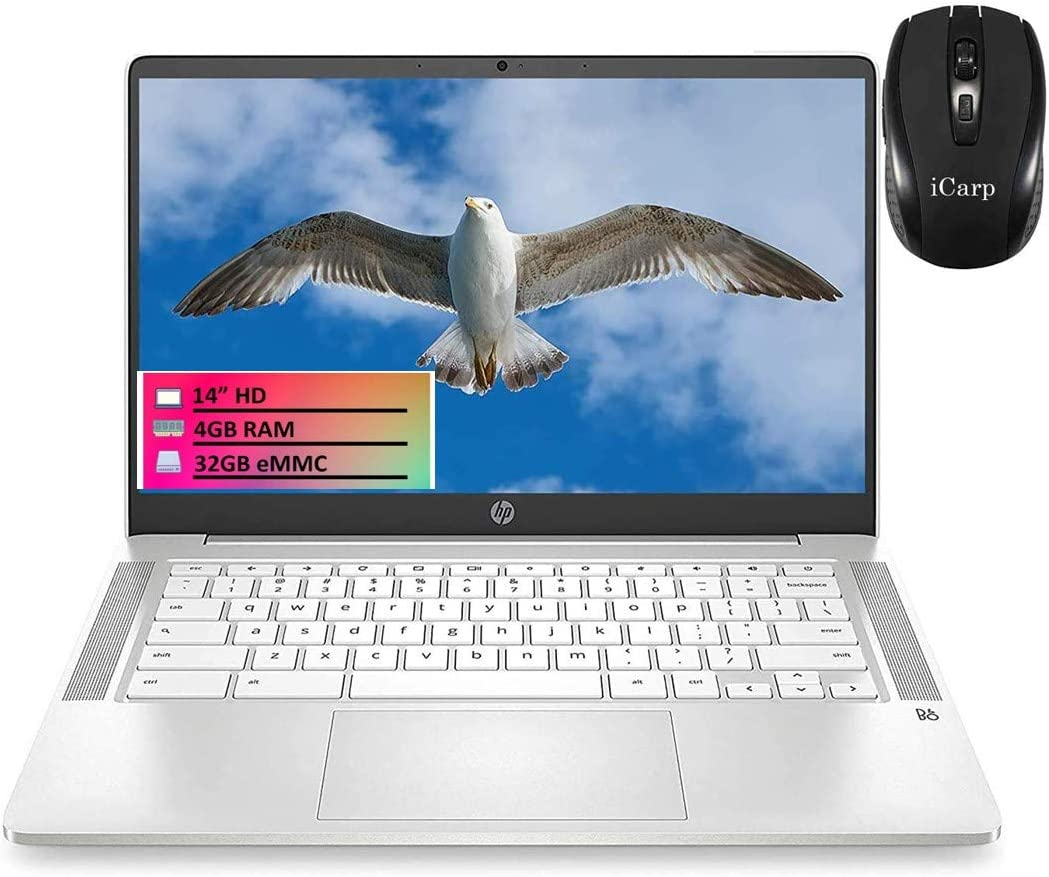 "2020 Flagship HP 14 Chromebook Laptop Computer 14"" HD SVA Anti-glare Display Intel Celeron N4000 Processor 4GB DDR4 32GB eMMC Audio by B&O Backlit Keyboard WIFI Webcam Chrome OS + iCarp Wireless Mouse"