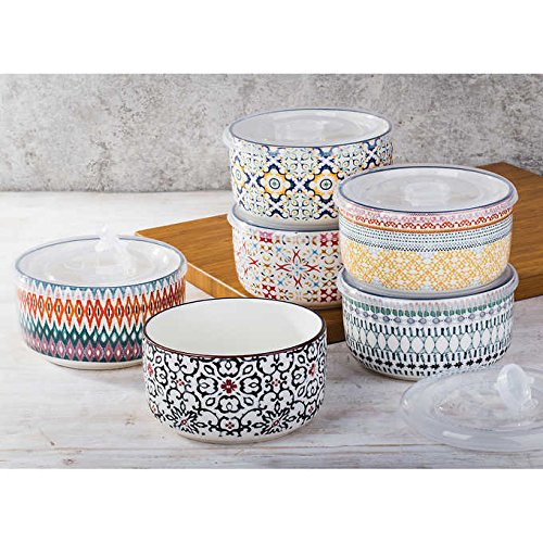 Signature Housewares 6-piece Stoneware Storage Bowls, Microwave Safe