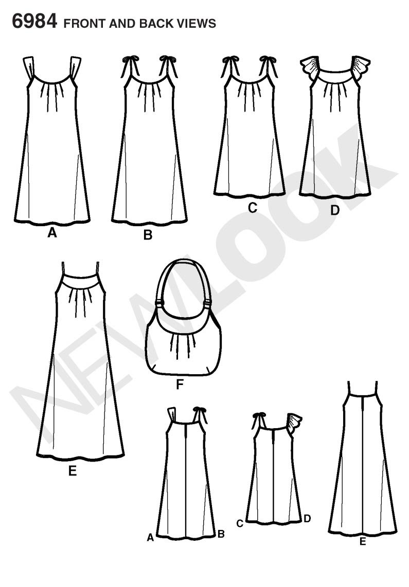 New Look Sewing Pattern 6984 patrones de costura para vestidos y bolsa, tamaño a (10 - 12 - 14 - 16 - 18 - 20 - 22): Amazon.es: Hogar