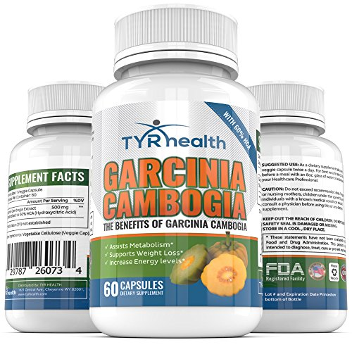TYR Health Garcinia Cambogia Advanced Weight Loss Supplement (60 Veggie Capsules) – Safe, Natural Appetite Suppressant with 60% HCA – Helps Burn Fat, Boost Metabolism & Curb Cravings