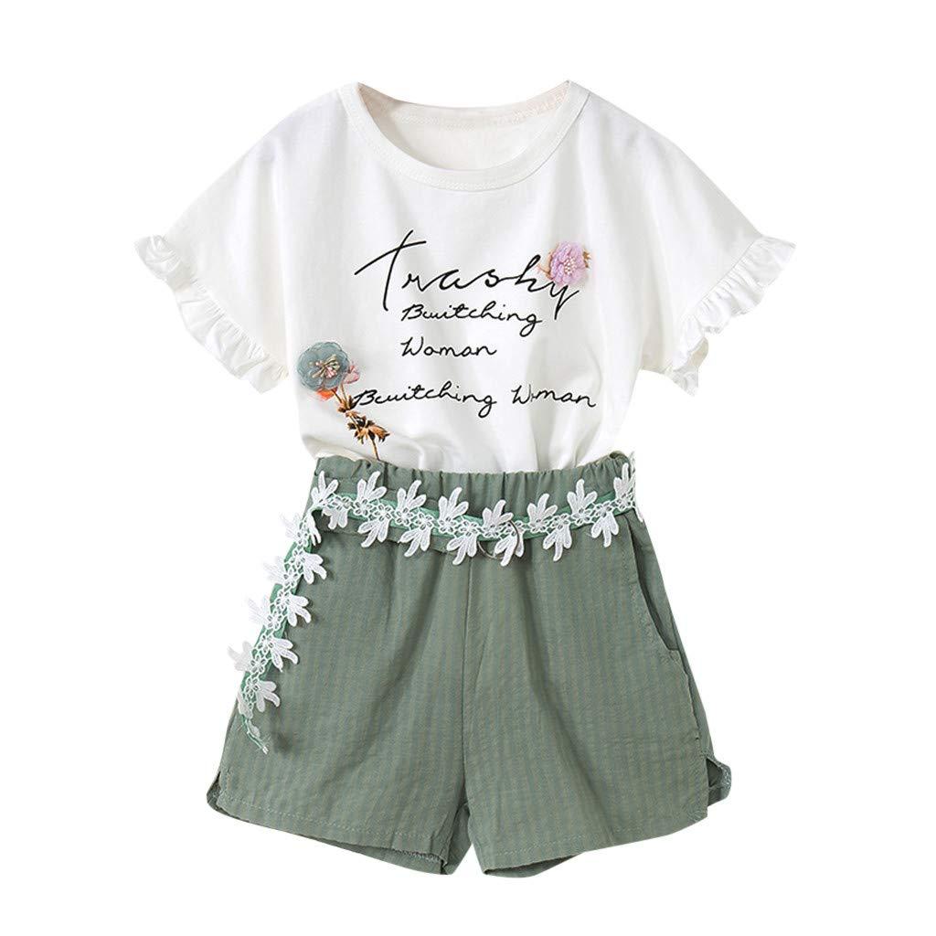SamMoSon 2Pcs Bambini Set Bimbo Bambino Bambine Neonato Infantile Bambino Ragazzo Ragazza Maglietta Veste Top Pantaloncini Pantaloni Set 2 Pezzi Outfits Set