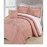 4pc Dusty Salmon Pink Oversized Bedspread King Floor, Extra Long Floral Damask Bedding Drops Over Edge Bed Wide French Country Pattern Embroidered Stitching Classic, Polyester