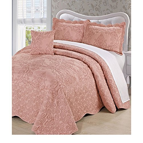 4pc Dusty Salmon Pink Oversized Bedspread King Floor, Extra Long Floral Damask Bedding Drops Over Edge Bed Wide French Country Pattern Embroidered Stitching Classic, Polyester by OSD