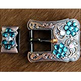HILASON ANTIQUE COPPER BUCKLE SET EMERALD AB CRYSTAL HEADSTALL BRIDLE LEATHER
