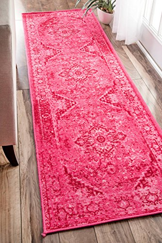 Traditional Vintage Inspired Overdyed Fancy Runner Area (Pink Floor Runner)