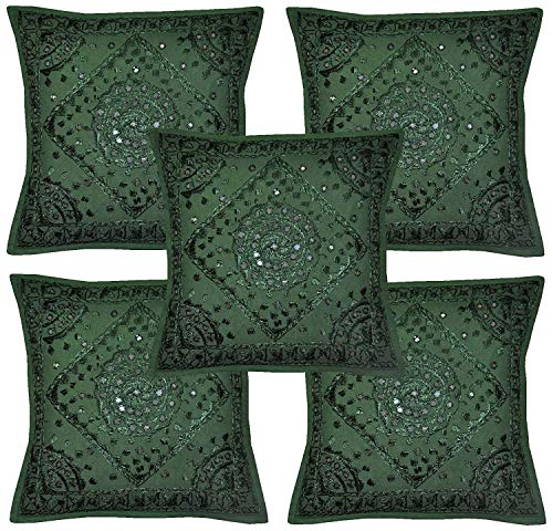 (Jaipuri Handloom Crafts JHC's Home Furnishing Decorative Handmade Embroidered and Mirror Work Indian Cotton Maroon Throw Pillow Cushion Covers 16 x 16 Inches Set of 5 Pcs (Green))