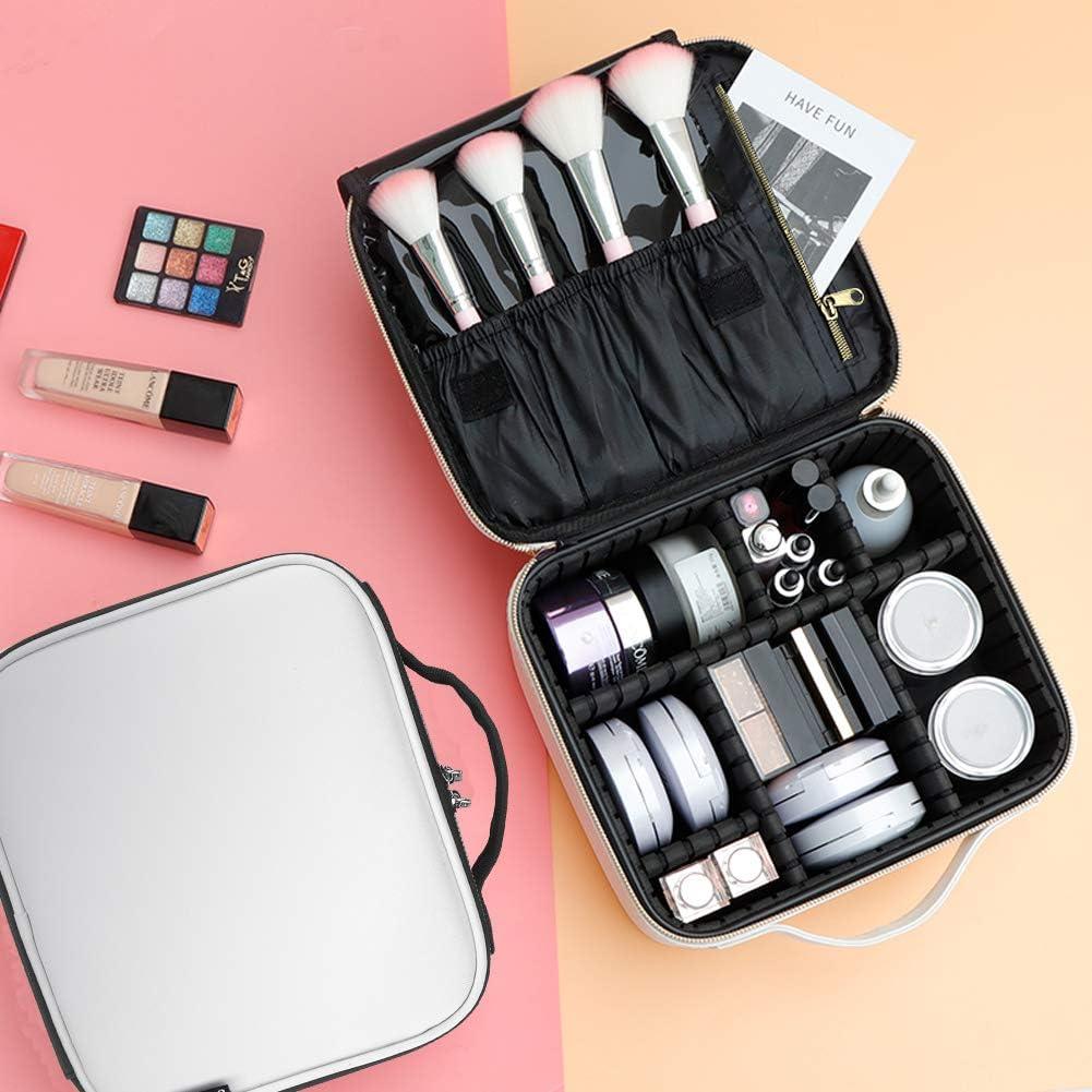Neceser de piel sintética para maquillaje, 10.23 x 9 x 4.92 pulgadas, estuche de maquillaje de viaje con compartimentos ajustables, correa para el hombro, color blanco: Amazon.es: Belleza