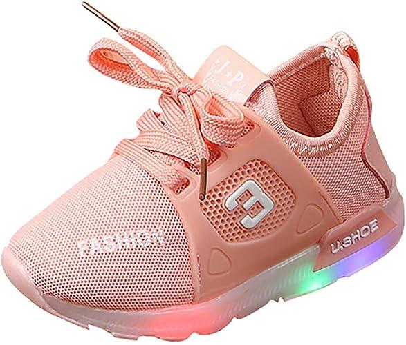 Finebo Enfant Chaussure Basket Lumineuse pour Enfants Fille 7 Couleurs LED lumière Chaussure Lumineuse de Sports Princesse Doux Chaussures Mode
