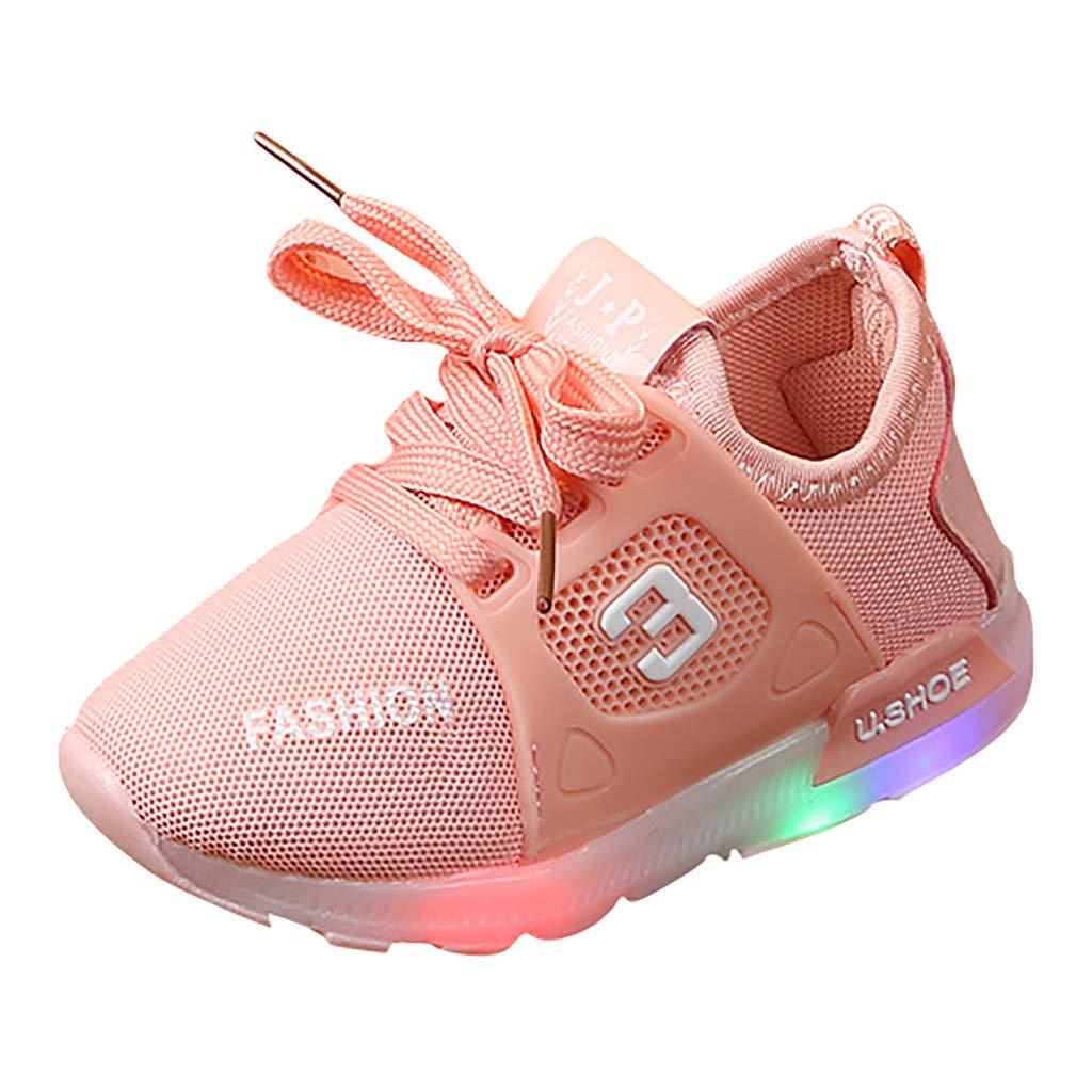Suma-ma Toddler Babys Mesh Led Light Sneakers Kids Boys Girls Luminous Outdoor Sports Running Casual Shoes