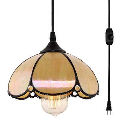 Hmvpl Tiffany Style Pendent Ceiling Light With 16 4 Ft Plug In Cord And On Off Dimmer Switch Dome Shaped Swag Hanging Lamp For Kitchen Island Dining