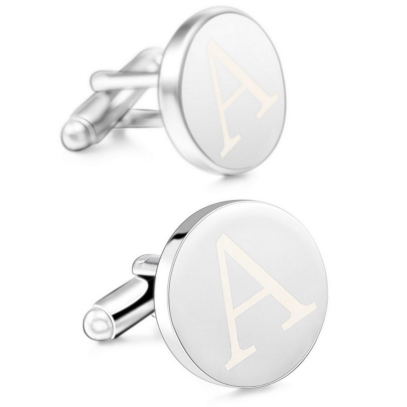MOWOM Silver Tone 2PCS Rhodium Plated Cufflinks Initial Letter Capital Alphabet Shirt Wedding Set ca5050116