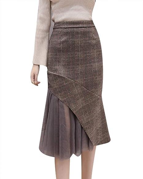 QitunC Mujer Plaid Falda de Tubo Otoño Invierno Espesar Costura de ...