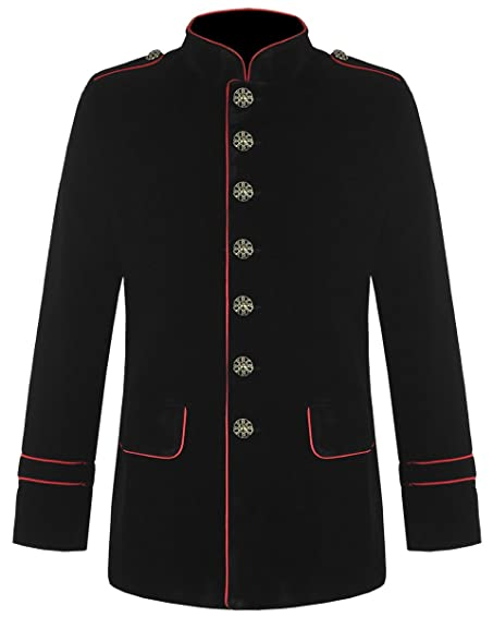 Amazon.com: Gothic Steampunk Military Army Officer Style Pea Coat ...