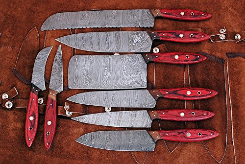 Hand made damascus steel blade kitchen knife 8 PCS set with leather pouch for storage. ()
