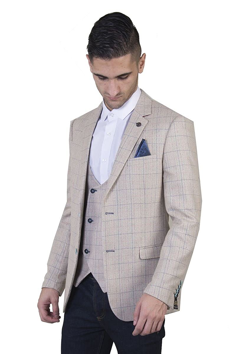 Luxury Smart Classic Formal Suit for Special Occasions Wedding Partys Or Business Marc Darcy Mens Harding Classic Cream Check Tweed Blazer Jacket Opulent Lining and Lapel Pin Badge Slim Fit