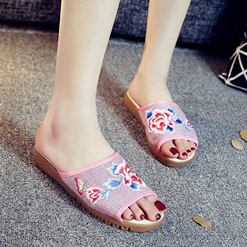 flop ¨¦tnico femenino de bordados xiuhuaxie zapatos sandalias pink estilo c¨®modo tend¨®n GuiXinWeiHeng flip Peony lenguado moda xqv1RnS8