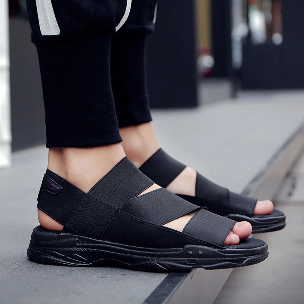 ZJM-sandalia moda sandalias de verano sandalias deportivas al aire libre sandalia elástica hombre/estudiantes/niño negro (39-44 tallas) (Color : Negro, Tamaño : 39) 39|Negro