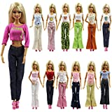 K.T. FANCY Set of 5 Quality Handmade Blouse + Trousers Pants Outfit Casual Wear for Barbie Clothes Xmas Gift