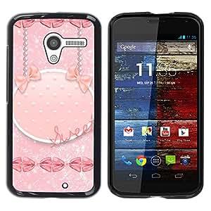 iKiki Tech / Estuche rígido - Stars Glitter Kisses Sweet Girly Pink - Motorola Moto X 1 1st GEN I XT1058 XT1053 XT1052 XT1056 XT1060 XT1055