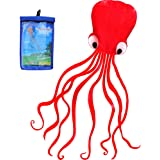 HENGDA KITE Software Octopus Flyer Kite with Long Colorful Tail for Kids, 31-Inch Wide x 157-Inch Long, Large, Red