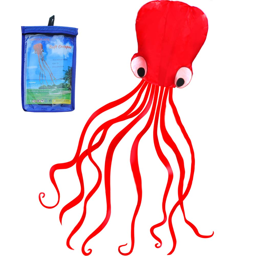 HENGDA KITE Software Octopus Flyer Kite with Long Colorful Tail for Kids, 31-Inch Wide x 157-Inch Long, Large, Red by HENGDA KITE