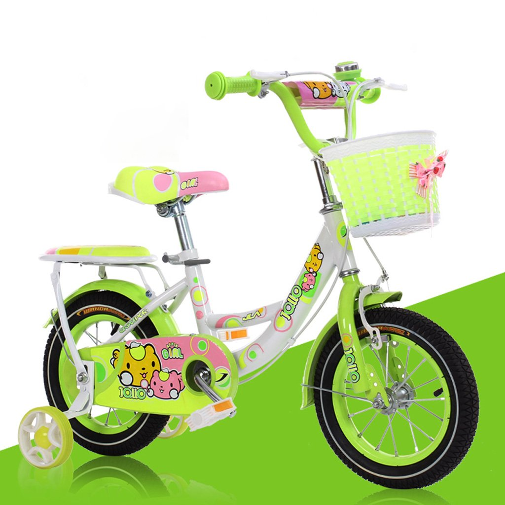 Fenfen Children 's Bicycles 4 – 7 Years Old子供のBikes 16インチBaby Girls Bicycles高炭素鋼Baby Carriages、ピンク/グリーン/ブルー B07CWN17CGグリーン