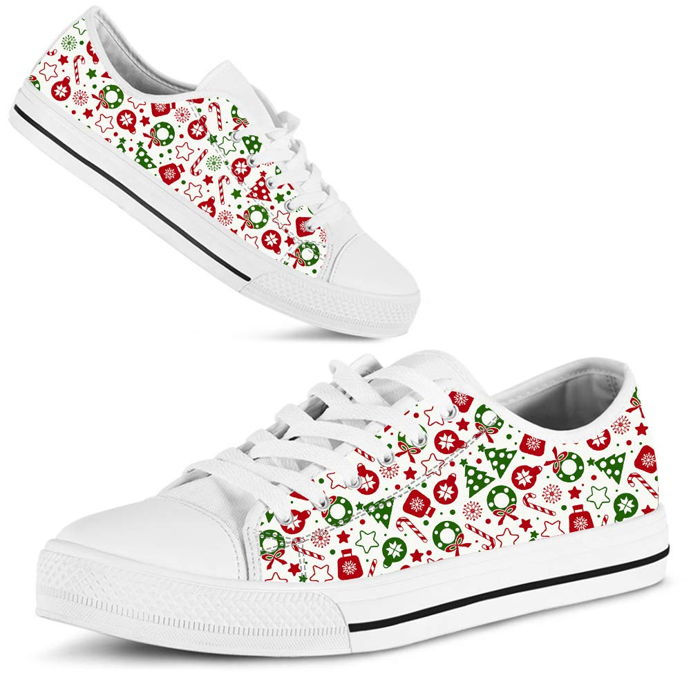 eebb0f7cf878d Amazon.com: Hand Painted Printed Canvas Shoe Christmas Candy Cane ...