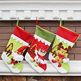 the love 3 Pcs Set Classic Christmas Stockings Santa Claus Snowmen Elk Christmas decorations (C)