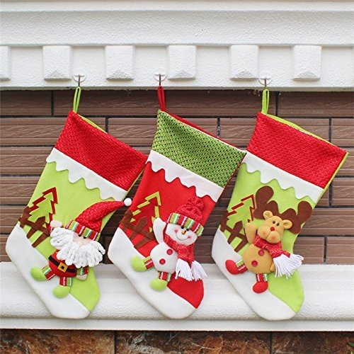 the love 3 Pcs Set Classic Christmas Stockings Santa Claus Snowmen Elk Christmas decorations (C) by the love (Image #5)
