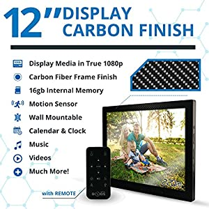 12 inch HD Digital Picture Frame Carbon Fiber - 1080p High Definition Electronic Photo Frame With Video, 16GB Memory, Motion Sensor, Built-In Speakers & Remote Control - (Black)