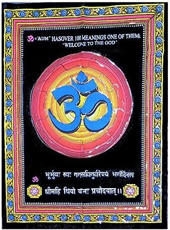 Indischerbasar De Toile Peinte Symbole Om Bleu 104x78cm