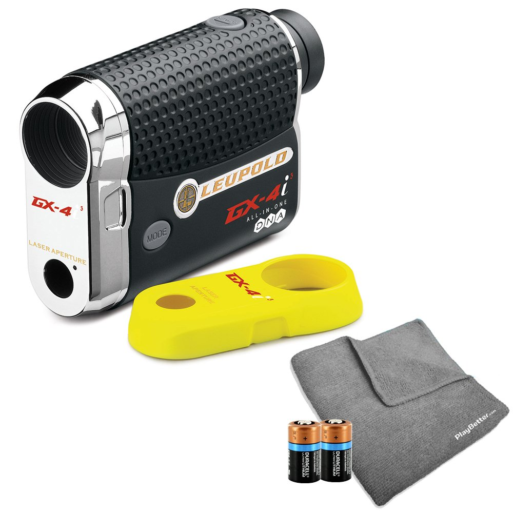Leupold GX-4i3 Golf Rangefinder Bundle I Includes Golf Rangefinder (Slope & Non-Slope Function) with Carrying Case, PlayBetter Microfiber Towel & Two (2) CR2 Batteries | True Golf Range (TGR) | Bundle